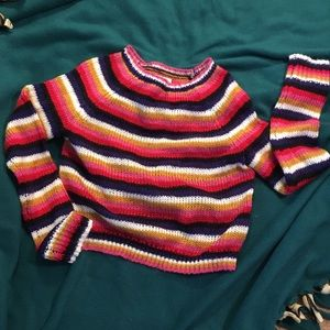 Rainbow crop sweater size small